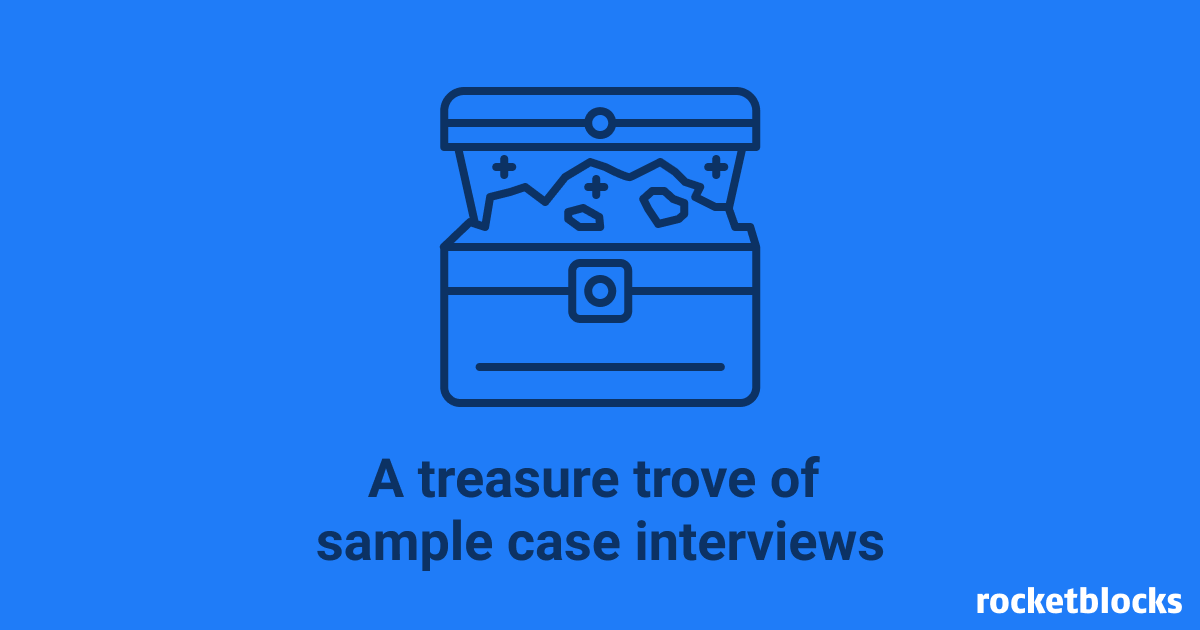 A library of links to sample consulting case interviews from leading firms