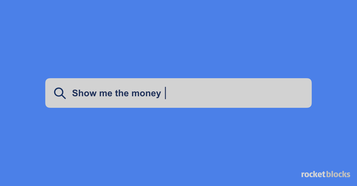 Google search bar with a query: show me the money
