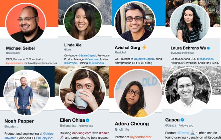 Shows the twitter profile photos of eight top product managers